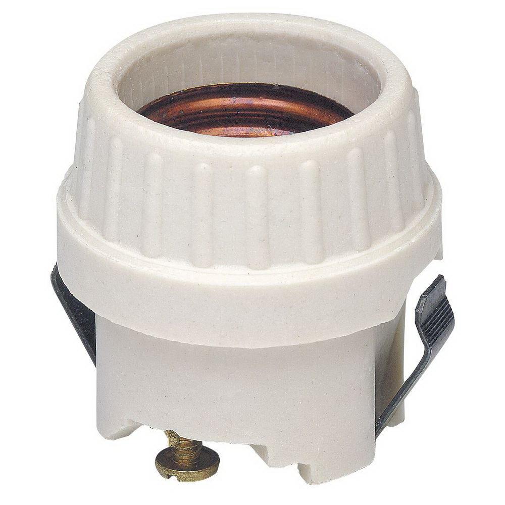 Leviton R50-08875-000 1-Circuit 1-Piece Snap-In Lamp Holder, 660 W, Incandescent, Medium, White
