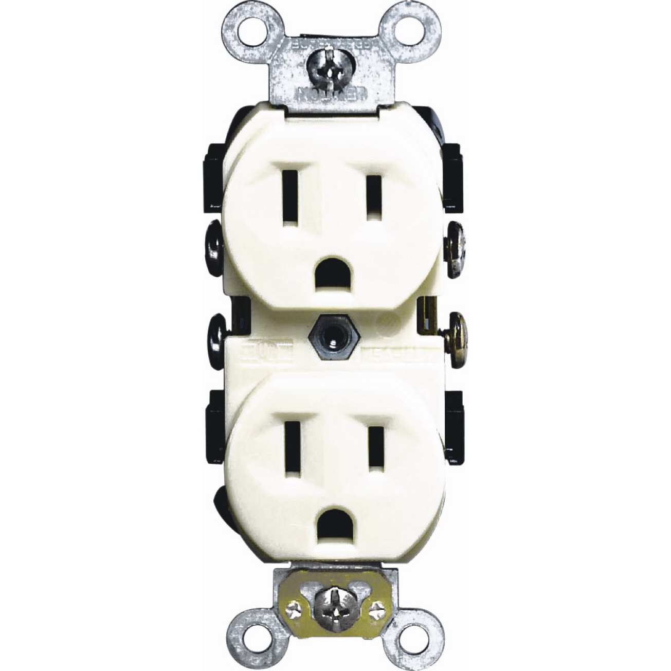 Leviton S01-0CR15-0IS Narrow Body Straight Blade Duplex Receptacle, 125 V, 15 A, 2 Pole, 3 Wire, Ivory