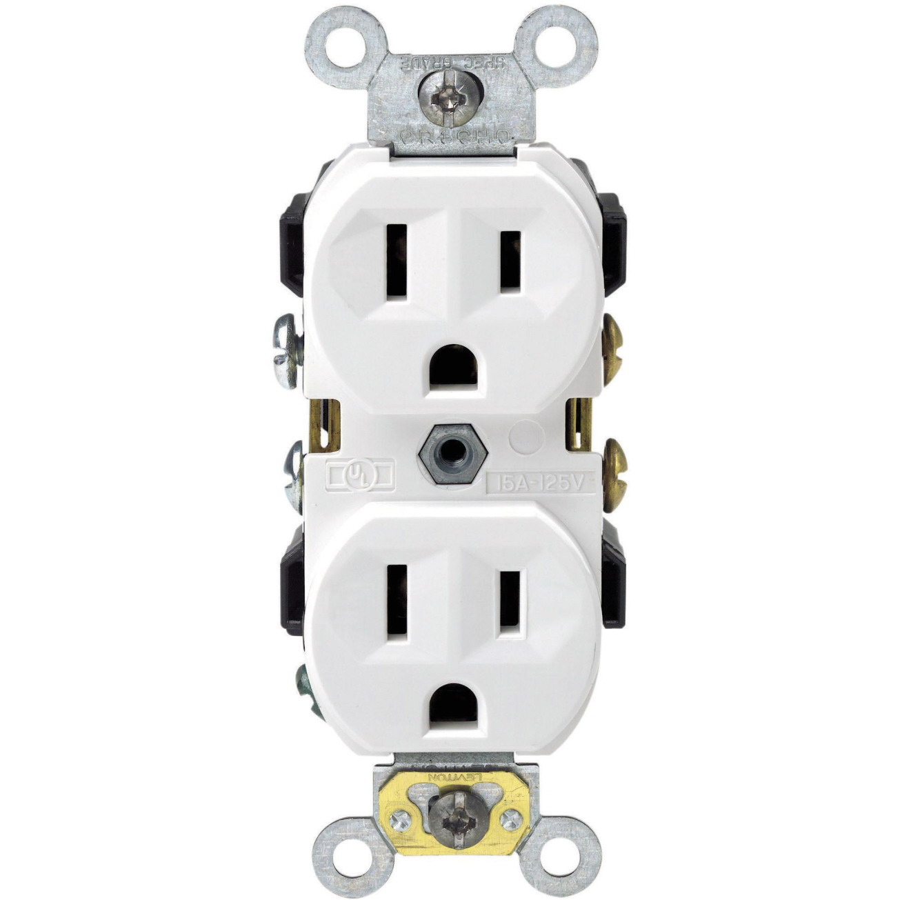 Leviton S02-0CR15-0WS Narrow Body Straight Blade Duplex Receptacle, 125 V, 15 A, 2 Pole, 3 Wire, White