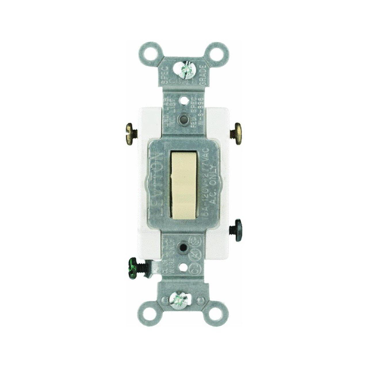 Leviton CS315-2I Grounded Toggle Switch, 120/277 V, 15 A, 1 P, Ivory