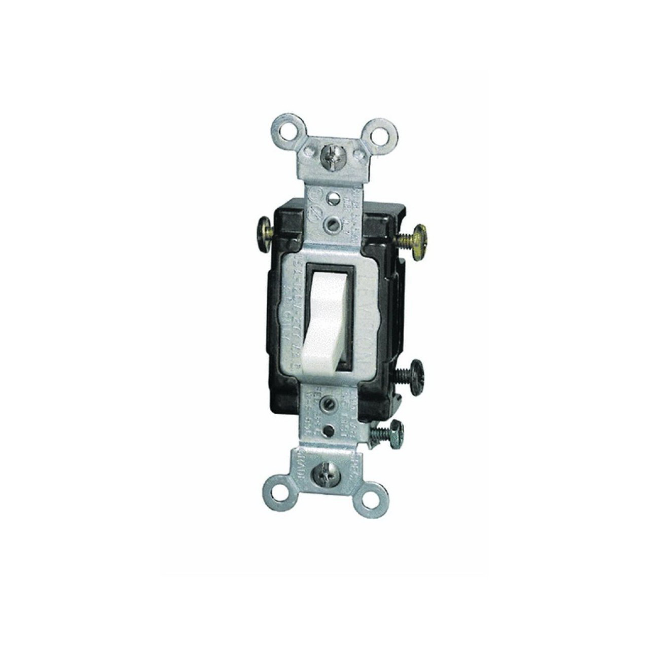 Leviton S02-CS315-2WS Grounded Toggle Switch, 120 VAC, 15 A, 1 P, White