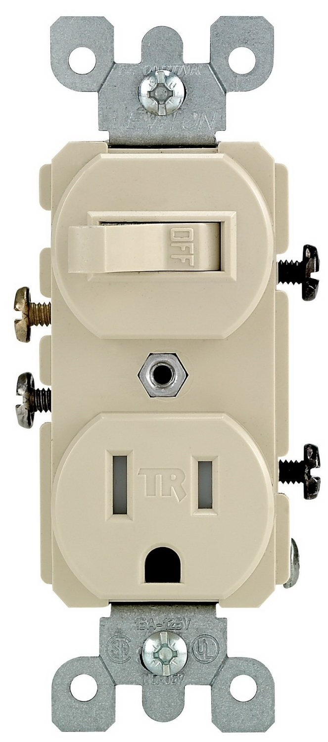 Leviton R51-T5225-0IS Tamper Resistant Combination Switch, 1 P, 3 Wire, 15 A, 120 VAC