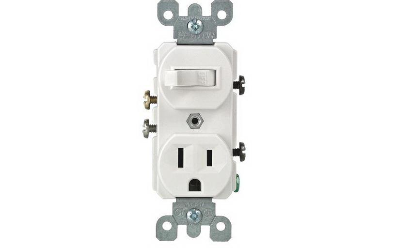 Leviton R62-T5225-0WS Multi-Purpose Tamper Resistant Combination Switch, 1 P, 3 Wire, 15 A, 120 VAC