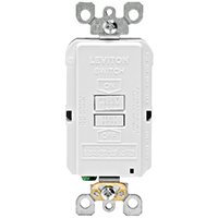Leviton R58-GFRBF-0KW GFCI Receptacle, 125 V, 20 A, 2 Pole, 3 Wire, White