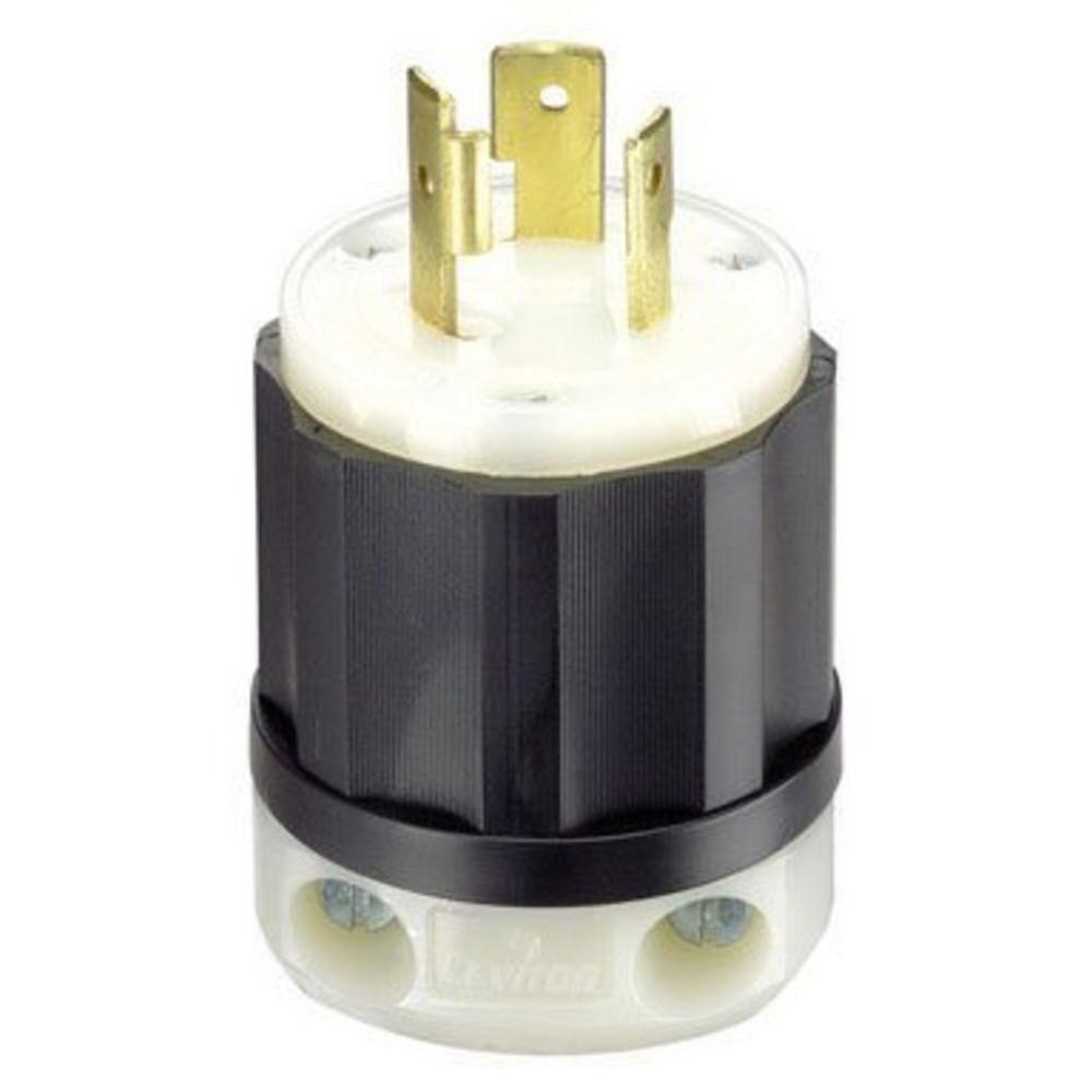 Leviton 021-02311-0PB Heavy Duty Professional Grade Locking Plug, 125 V, 20 A, 2 P, 3 W, Black/White