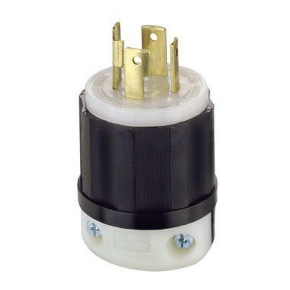 Leviton 021-02711-0PB Heavy Duty Twist-Lock Locking Plug, 125/250 V, 30 A, 3 P, 4 W, Black/White