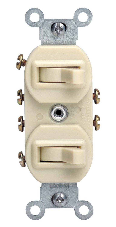 Leviton 031-05243-00I Duplex Toggle Switch With Grounding Screw, 120/277 VAC, 15 A, 1 P, Ivory