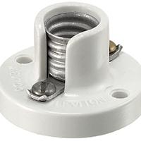 Leviton 105-10028-000 Keyless Lamp Holder, 75 W, Incandescent, Candelabra, White, Phenolic Body, Aluminum Shell