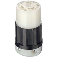 Leviton Professional Locking Connector, 250 V, 30 A, 2 Pole, 3 Wire, Nylon, 0.385 - 0.930 in, L6-30R NEMA