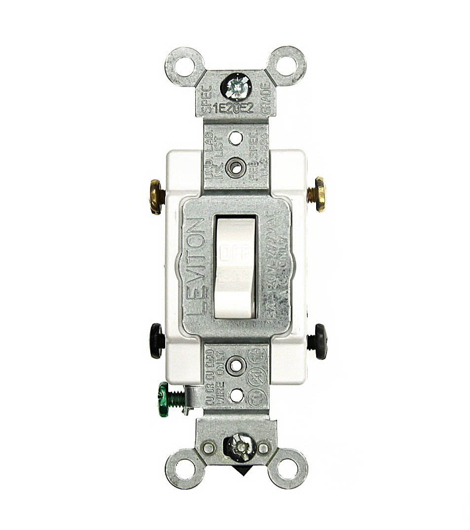 Leviton 064-CS215-02W Grounded Toggle Switch, 120/277 VAC, 15 A, 2 P, White