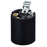 Leviton 926-03352-004 1-Circuit 1-Piece Keyless Lamp Holder, 660 W, Incandescent, Medium, Black