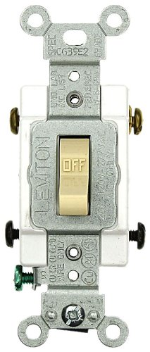 LEVITON TOGGLE SWITCH, INDUSTRIAL GRADE, DOUBLE POLE, 120/277 VOLT, 20 AMP, IVORY
