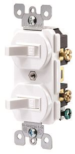 LEVITON� 1-POLE COMMERCIAL GRADE AC COMBINATION TOGGLE SWITCH, DUPLEX STYLE, LIGHT ALMOND, 120 / 277 VOLTS, 15 AMPS