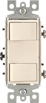 LEVITON� DECORA� 1-POLE DUAL ROCKER SWITCH, LIGHT ALMOND, 120 VOLTS, 15 AMPS