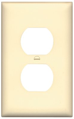DUPLEX 1 GANG RECEPTACLE WALLPLATE MIDSIZE IVORY