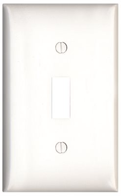 SWITCH 1 GANG TOGGLE WALLPLATE MIDSIZE WHITE