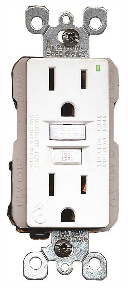 LEVITON� SMARTLOCKPRO� 2-POLE RESIDENTIAL GRADE DUPLEX GFCI RECEPTACLE WITH LED, WHITE, NEMA 5-15R, 125 VOLTS, 15 AMPS