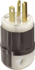 LEVITON� 2-POLE HOSPITAL GRADE PLUG, STRAIGHT BLADE, BLACK AND WHITE, NEMA 5-20P, 125 VOLTS, 20 AMPS