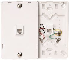 LEVITON� TELEPHONE WALL JACK, 6 POSTION, 4 CONDUCTOR, SCREW TERMINALS, WHITE