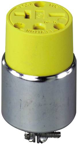 LEVITON COMMERCIAL GRADE ARMORED RUBBER GROUNDING FEMALE CONNECTOR, 20 AMP, DOUBLE POLE, 3 WIRE, YELLOW