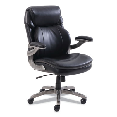 Cosset Mid-Back Executive Chair, Supports up to 275 lbs., Black Seat/Black Back, Slate Base