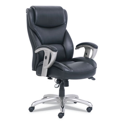 Emerson Big and Tall Task Chair, Supports up to 400 lbs., Black Seat/Black Back, Silver Base