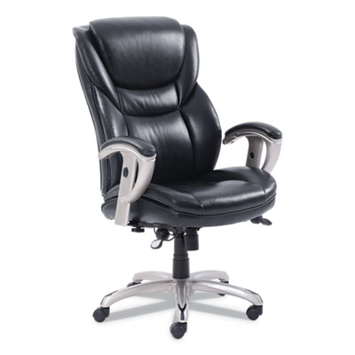 Emerson Executive Task Chair, Supports up to 300 lbs., Black Seat/Black Back, Silver Base