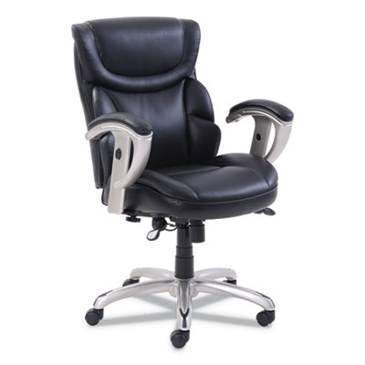 Emerson Task Chair, Supports up to 300 lbs., Black Seat/Black Back, Silver Base