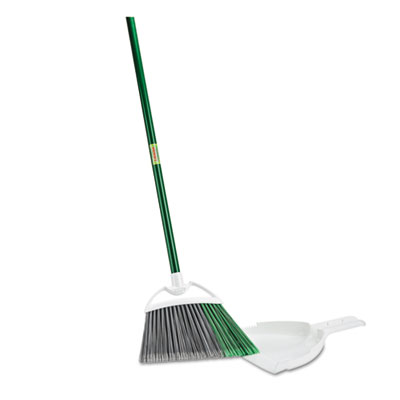"Precision Angle Broom with Dustpan, 53"" Handle, Green/Gray, 4/Carton"
