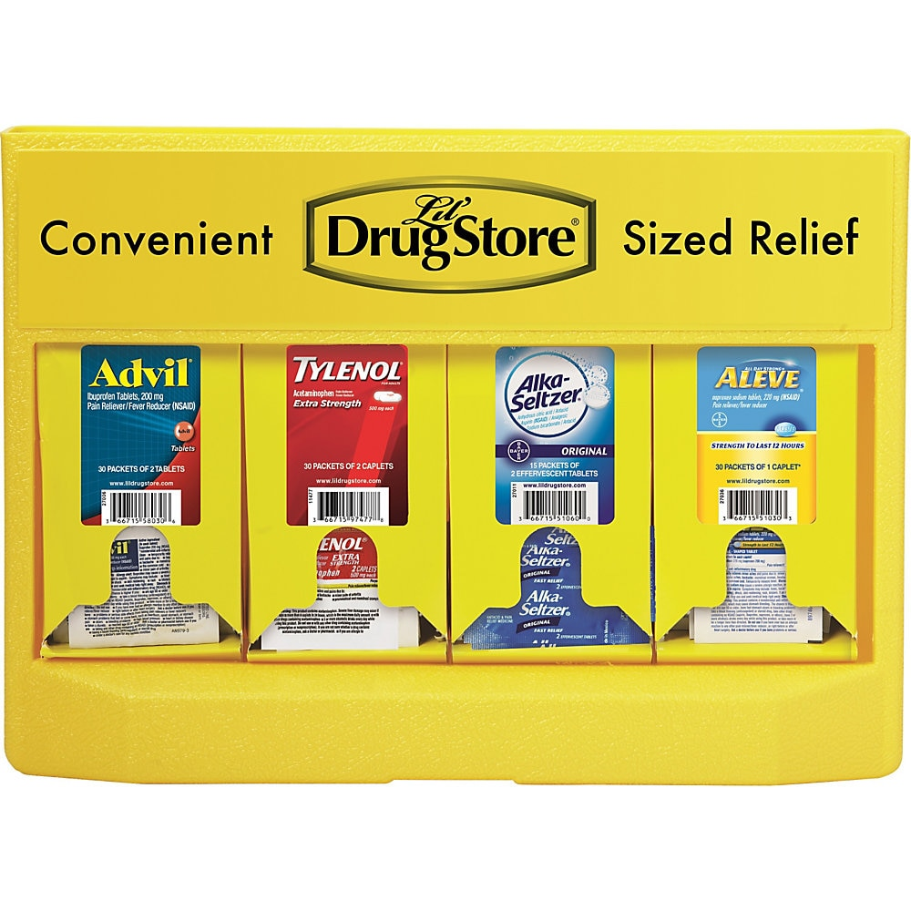 Single-Dose Medicine Dispenser, 105-Pieces, Plastic Case, Yellow