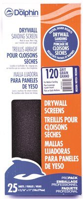 BLUE DOLPHIN� SILICON CARBIDE DRYWALL SCREENS, 4-3/16 IN. X 11 IN., 120 GRIT, 25 PACK