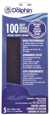 BLUE DOLPHIN� SILICON CARBIDE DRYWALL SHEETS, 4-3/16 IN. X 11 IN., 100 GRIT, 25 PACK