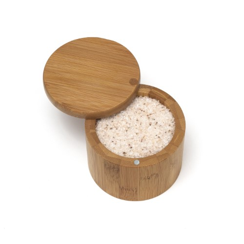 LIPPER 8829 BAMBOO SALT BOX WITH ROUND SWIVEL COVER THAT