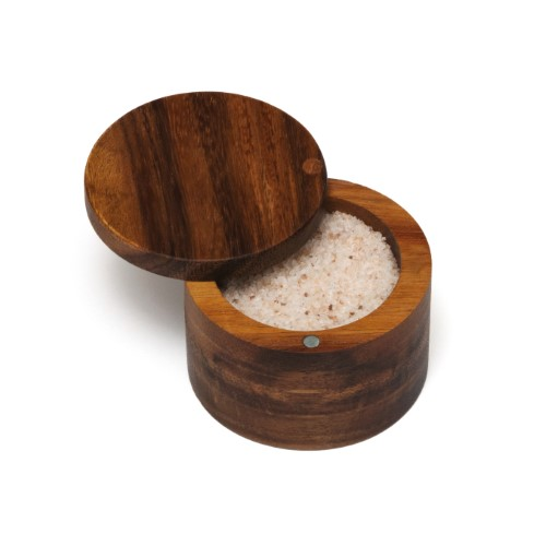 LIPPER 1126 ACACIA SALT BOX WITH SWIVEL COVER THAT OFFERS