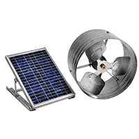 LL Buildsite PGSOLAR Gable Mount Solar Power Ventilator, 500 cfm, Steel, Galvanized
