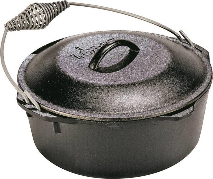 Lodge L10DO3 Pre-Seasoned Round Dutch Oven, 7 qt Capacity, 12 in Dia x 13-3/8 in L x 13-3/8 in W x 6-3/4 in H