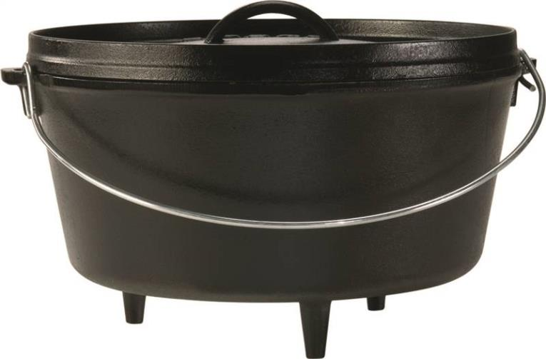 Lodge L12DCO3 Seasoned Dutch Oven With Legs and Flanged Lid, 8 qt Capacity, 12 in Dia x 13.935 in L x 12.438 in W