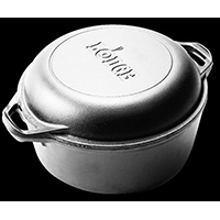 Lodge L8DD3 Pre-Seasoned Round Double Dutch Oven With Skillet Cover, 5 qt Capacity, 10-1/4 in Dia x 12.563 in L
