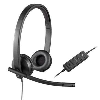 USB H570e Over-the-Head Wired Headset, Binaural, Black