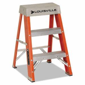 "Fiberglass Heavy Duty Step Ladder, 28 3/8"", 2-Step, Orange"