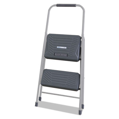 Black and Decker Steel Step Stool, Two-Step, 200 lb Cap, Gray