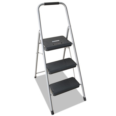 Black and Decker Steel Step Stool, Three-Step, 200 lb Cap, Gray