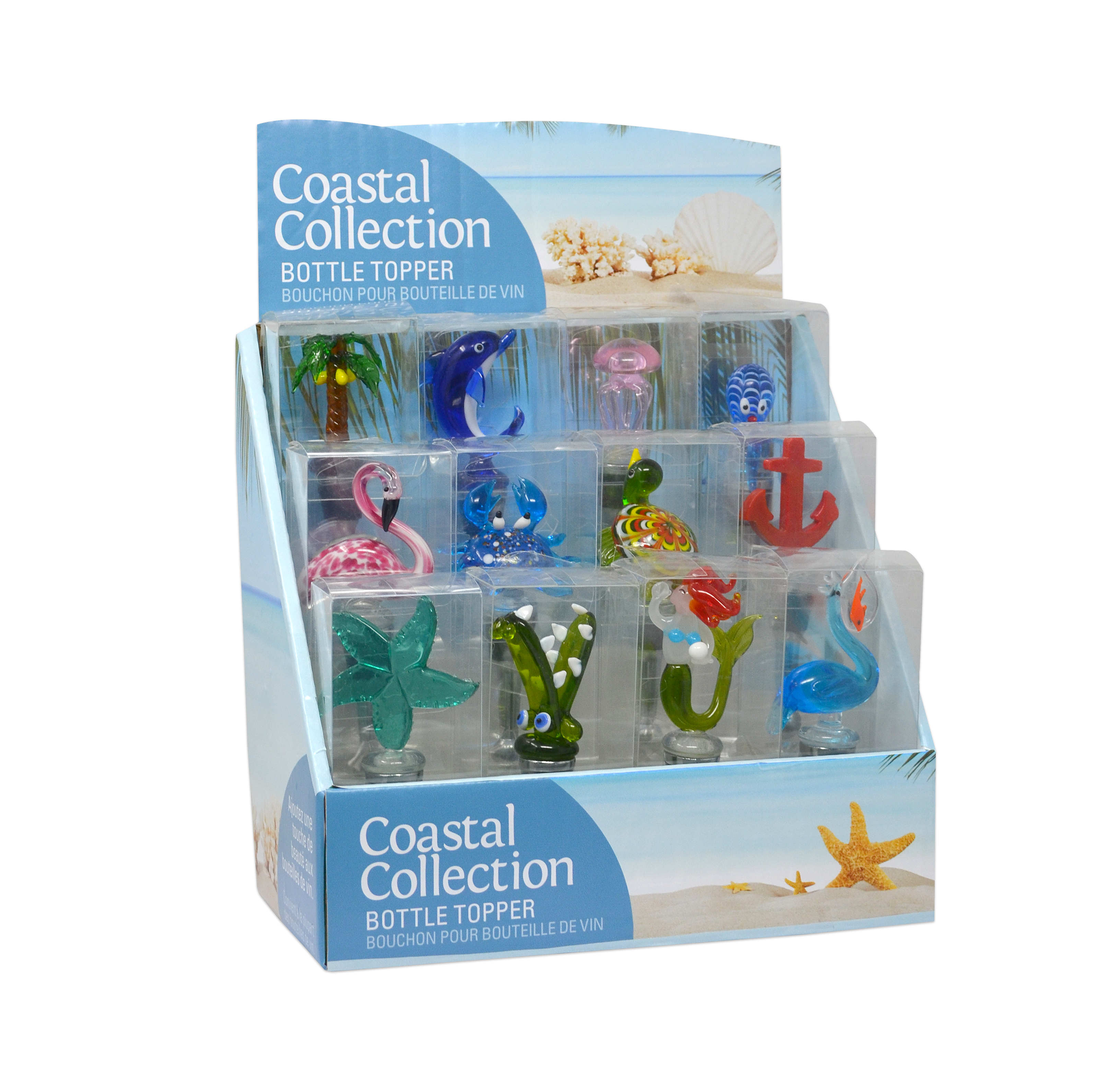 Coastal Collection 12 pc Bottle Stopper Display