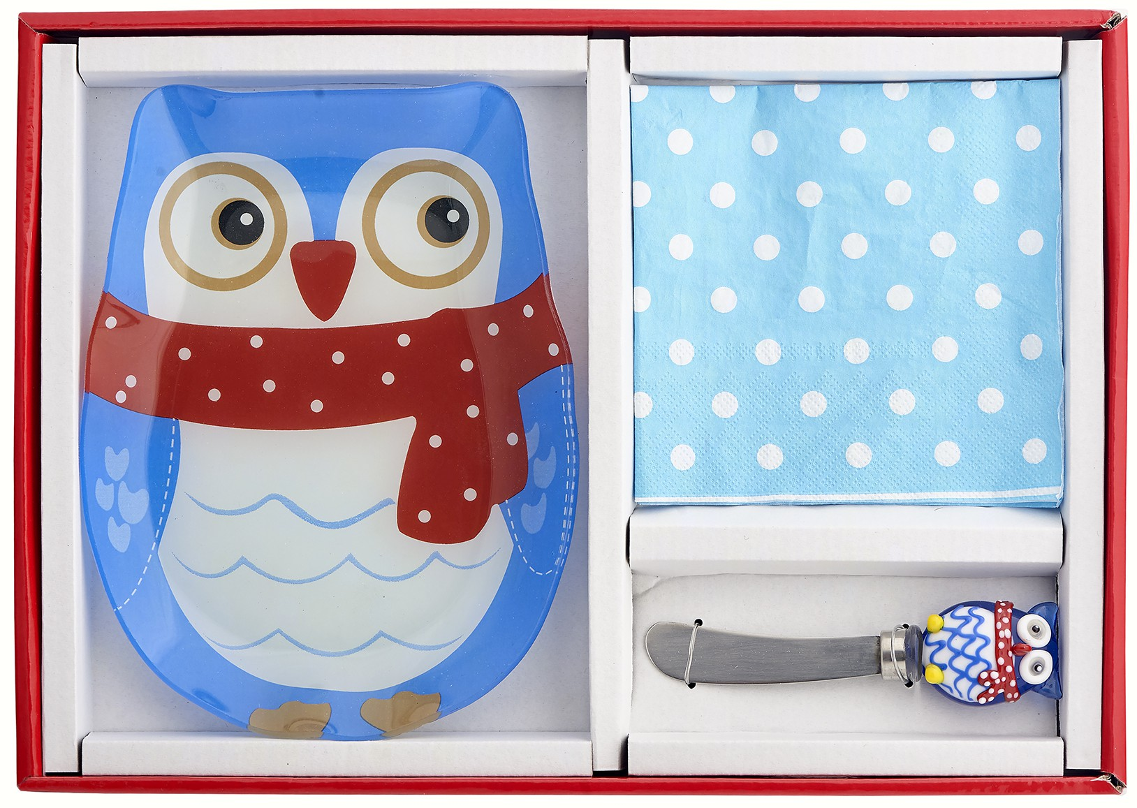 Owl Hostess Set- Includes Glass Serving Plate, Glass Spreader and Napkins