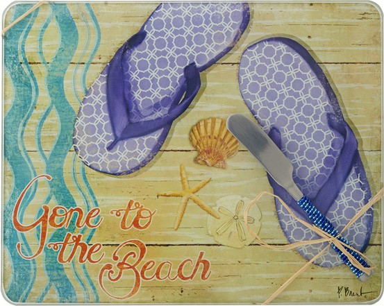 Cheese Board - Gone to the Beach w/Spreader - 10x8 Inches - TBD