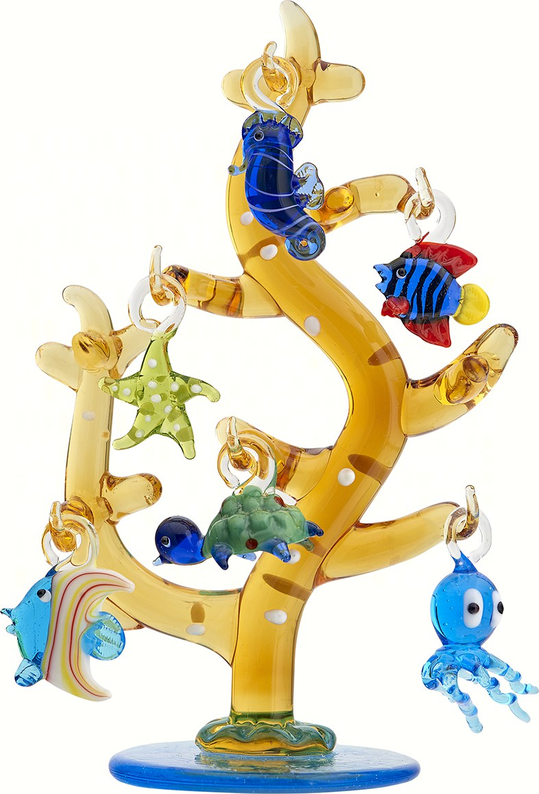 Glass Coral Tree with Sea Life Ornaments - 6 Inch GB