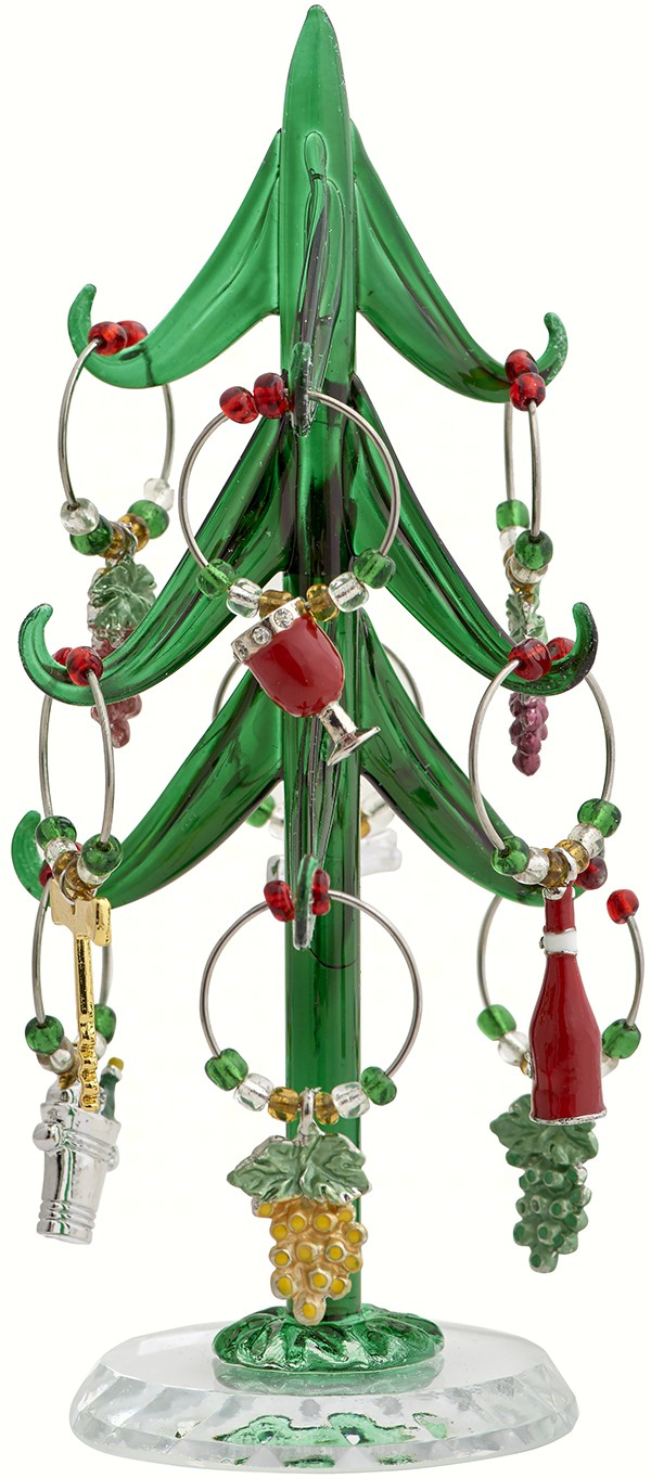 Wine Tree - 6 Inch with 9 Enamel Sommelier Wine Charms