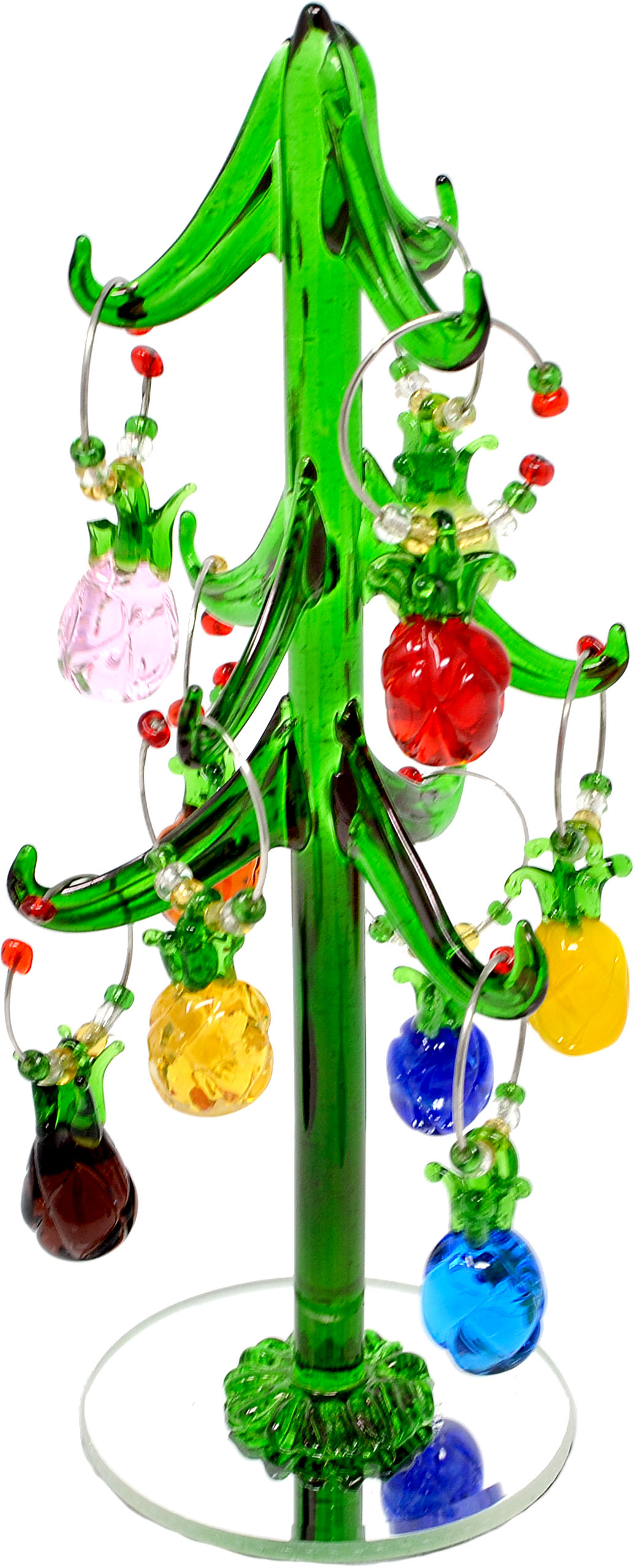 Glass Pineapple Wine Charm Tree 8 inch with 9 ornaments PVC