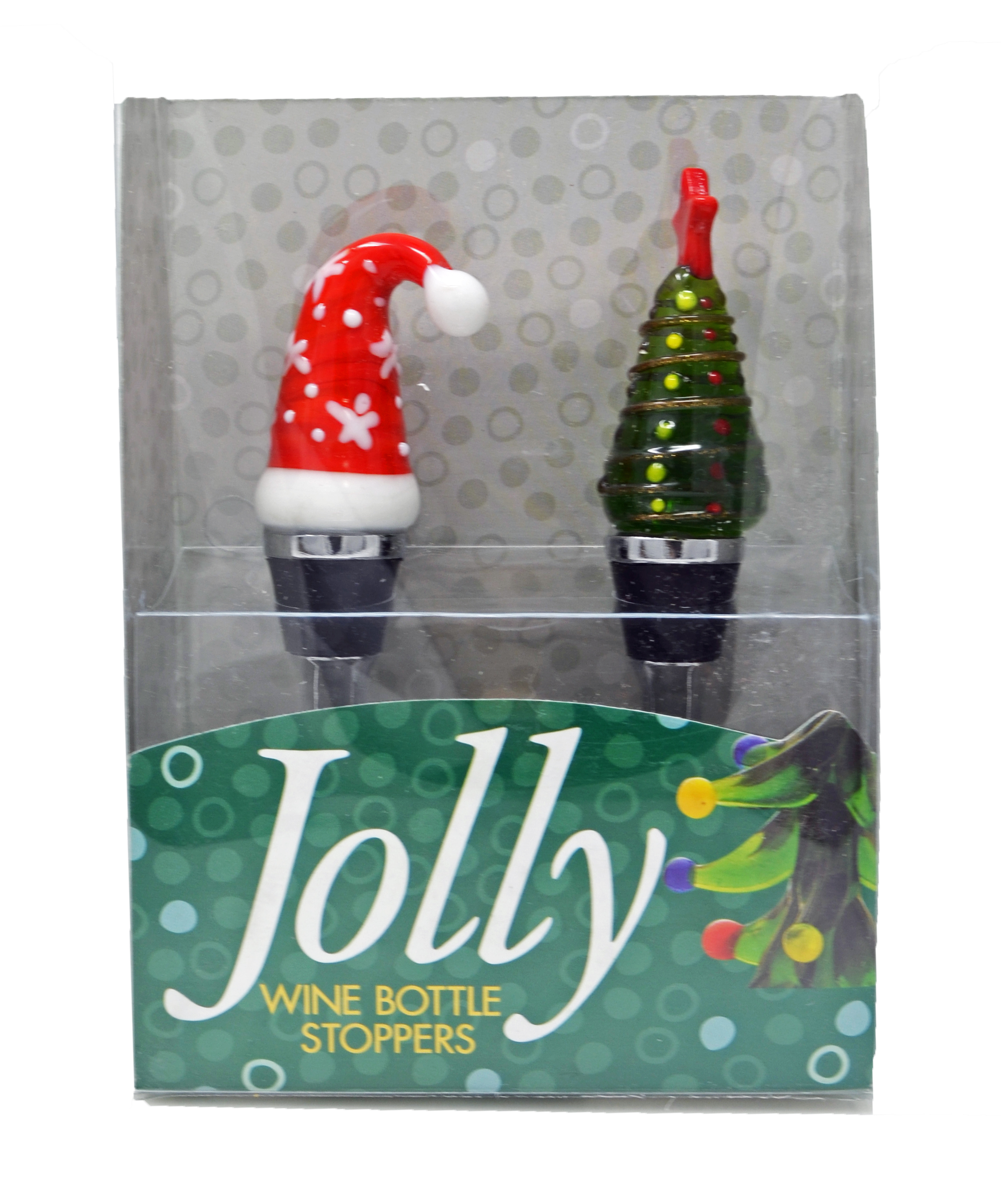 Bottle Stopper - Tree/Holiday Hat S/2 PVC