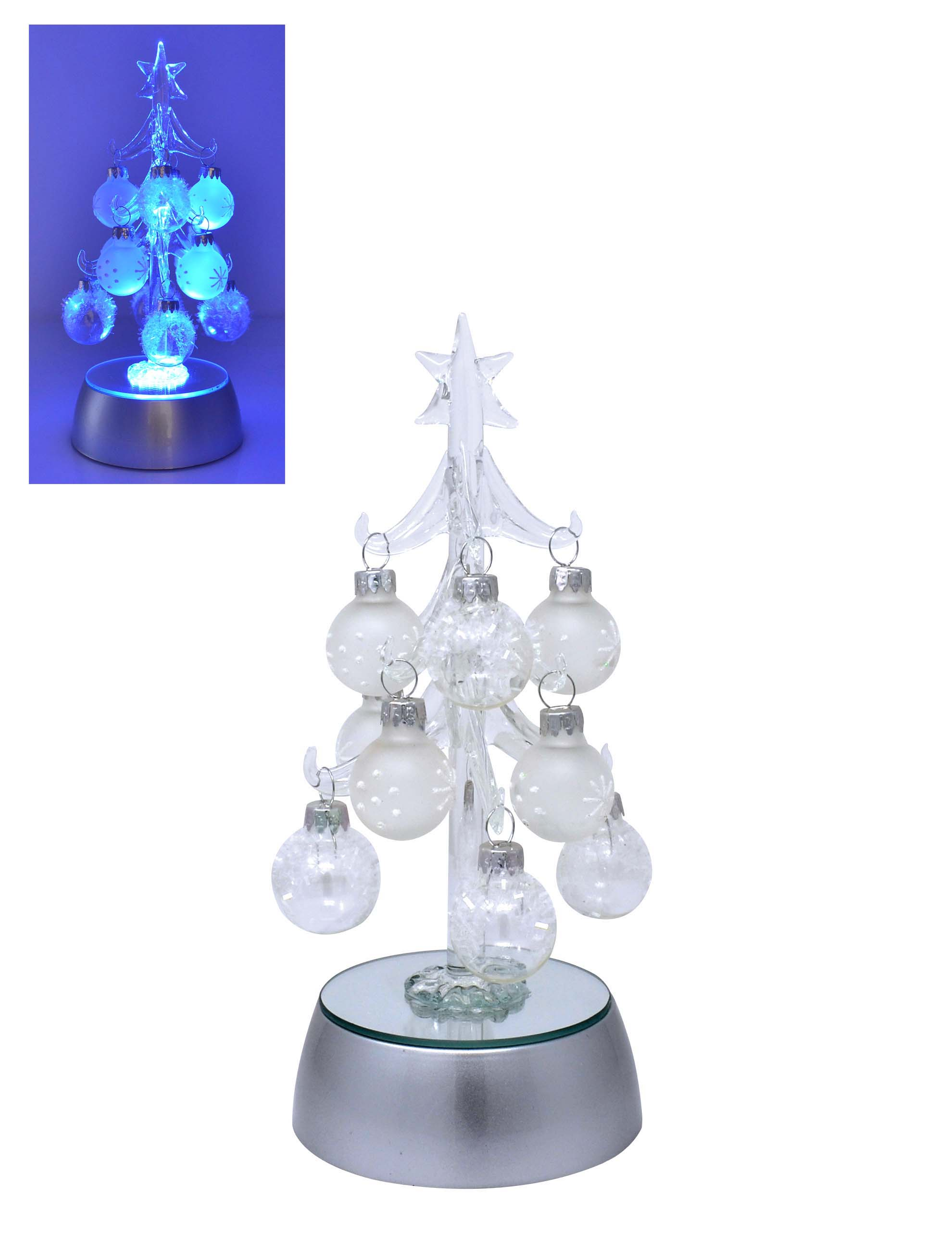 Tree - Clear Light Up with 12 ornaments - Gift Box